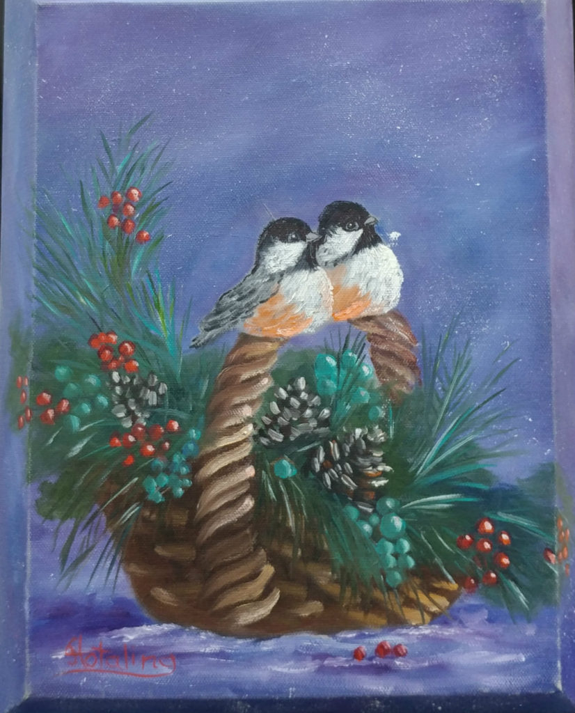 Chickadees on a Basket